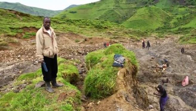 Mina de coltán en el Congo.