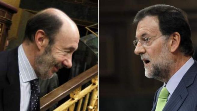 Los candidatos de PSOE y PP para las elecciones del 20-N, Alfredo Pérez Rubalcaba y Mariano Rajoy.