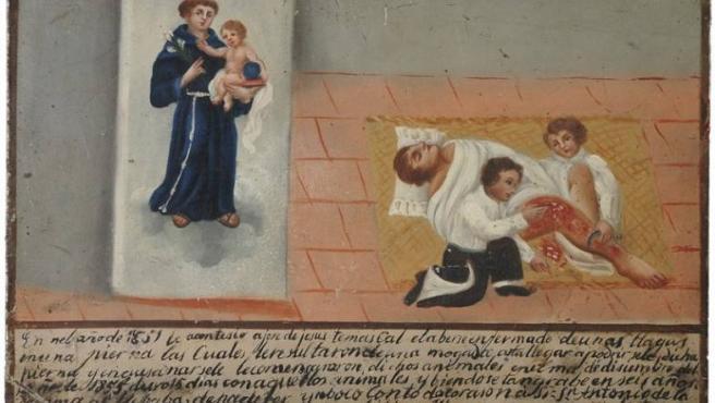 Figura votiva mexicana de 1856 que narra cómo José de Jesús Temascal, con graves llagas en una pierna casi gangrenada, se curó tras rezarle a San Antonio