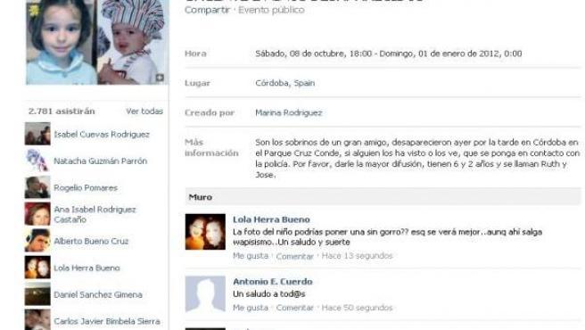Página en Facebook para tratar de encontrar a los niños desaparecidos en Córdoba.