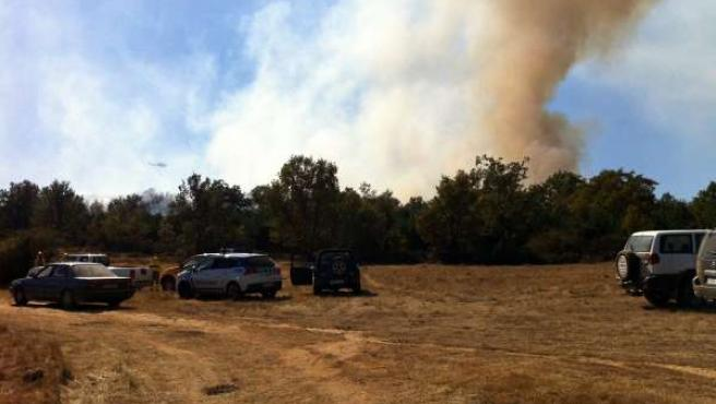 Efectivos Contra Incendios Durante Las Tareas En El Fuego De Oteruelos