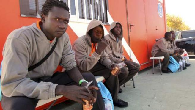 Varios de los inmigrantes que intentaban llegar a Cádiz en una barca de juguete.
