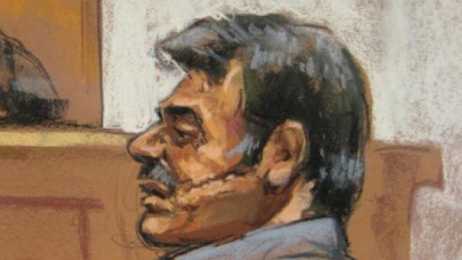 Dibujo de Manssor Arbabsiar en los juzgados de Manhattan.