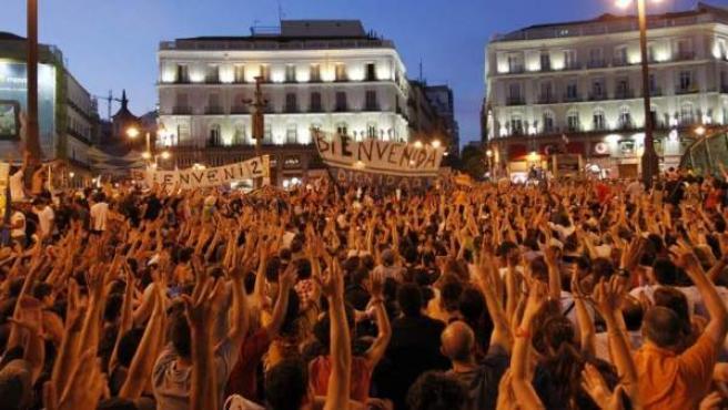 Imagen de archivo de una manifestación en la Puerta del Sol.