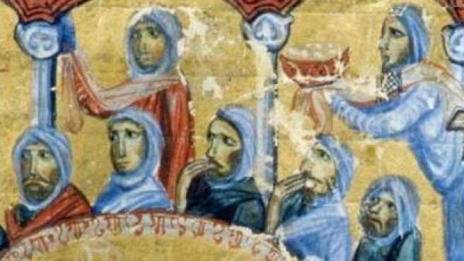 Detalle de un banquete ofrecido a un gobernador árabe. Manuscrito de Juan Skylitzes (siglo XII).