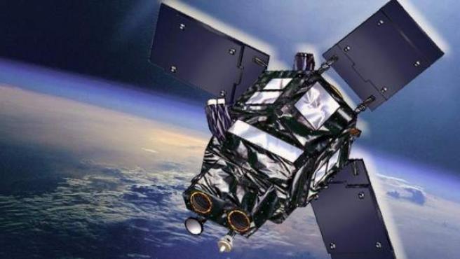 Ilustración de un satélite en órbita.