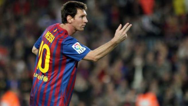 Leo Messi, delantero del Barcelona, celebra uno de sus goles ante el Mallorca.
