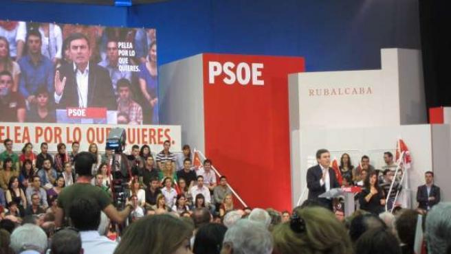 El Secretario General Del PSRM, Pedro Saura, En El Mitin De Rubalcaba