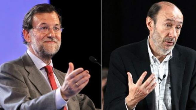 El líder del PP, Mariano Rajoy (izquierda) y el candidato del PSOE a las elecciones, Alfredo Pérez Rubalcaba.