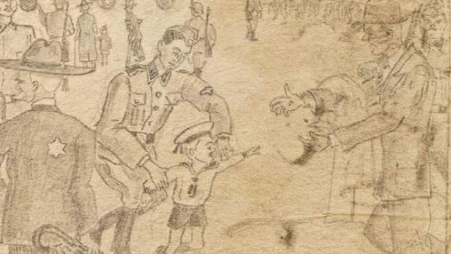 Una mano anónima bosquejó en una hoja de libreta a los soldados nazis clasificando a los prisioneros a la llegada al campo de concentración