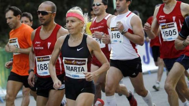 Marta Domínguez, en al carrera Divina Pastora de Madrid.