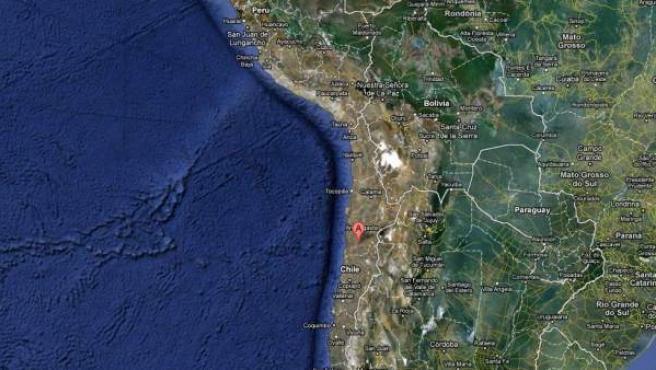 Mapa del centro y norte de Chile, país situado en una zona con fuerte actividad sísmica.
