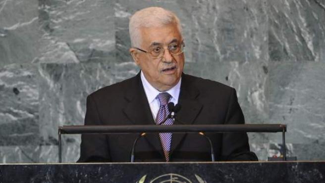El presidente de la Autoridad Nacional Palestina (ANP), Mahmud Abás, durante su intervención en la 66 Asamblea General de la ONU.