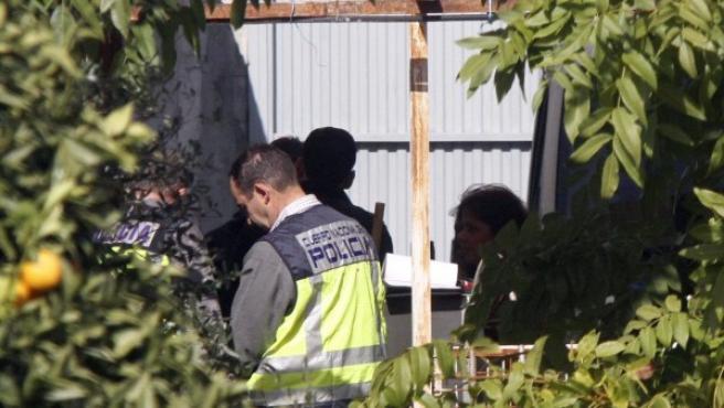 Agentes de la Policía Nacional registran exhaustivamente toda la finca de las Quemadillas, propiedad de los abuelos paternos de los niños desaparecidos de Córdoba.