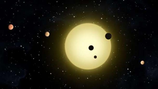 Recreación artística de unos seis pequeños planetas que orbitan alrededor de una estrella similar al Sol.