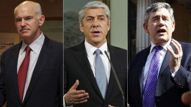 De izquierda a derecha, Yorgos Papandreu, José Sócrates y Gordon Brown, políticos caídos por su gestión de la crisis.