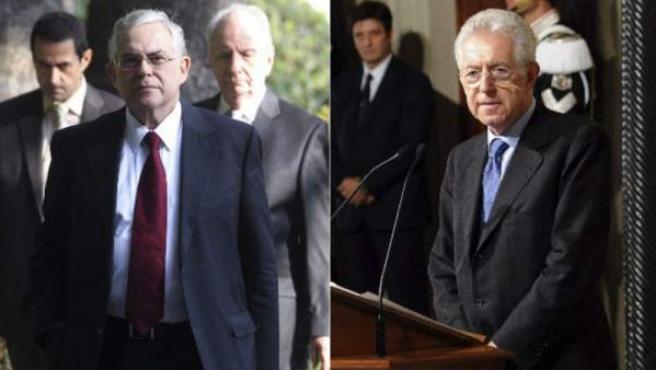 Lucas Papademos (izquierda), primer ministro del gobierno griego de unidad nacional y Mario Monti (derecha), nuevo primer ministro de Italia.