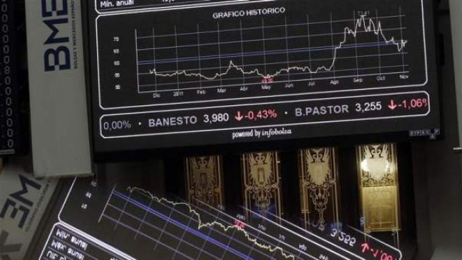 Imagen de archivo del interior de la Bolsa española.