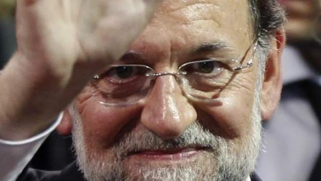El líder del PP, Mariano Rajoy, durante un acto en Barcelona.