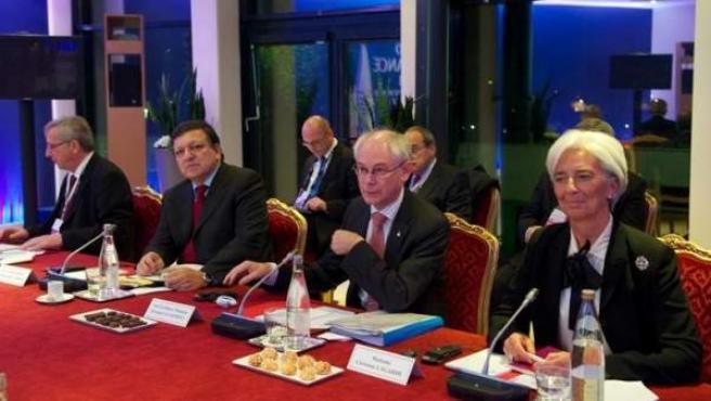 De izquierda a derecha, Jean Claude Juncker, José Manuel Durão Barroso, Herman Van Rompuy y Christine Lagarde.