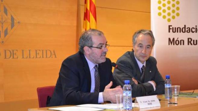 El Presidente De La Diputación De Lleida, Joan Reñé, Y Jordi Sala