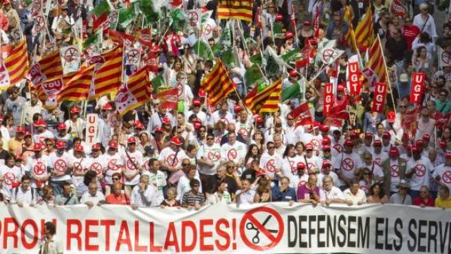 Una de las manifestación contra los recortes del gobierno catalán en Barcelona.