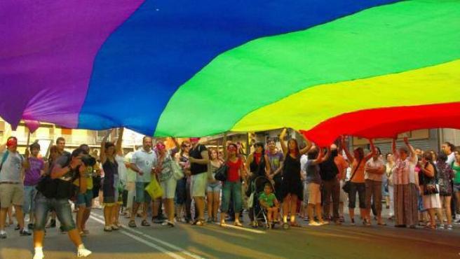 Imagen de una marcha gay, con la bandera arcoiris.
