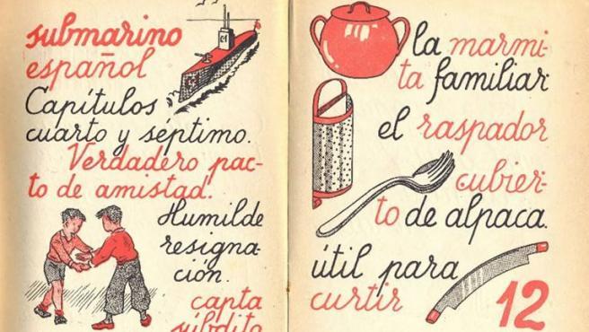 Una cartilla escolar publicada en Barcelona, en el año 1942