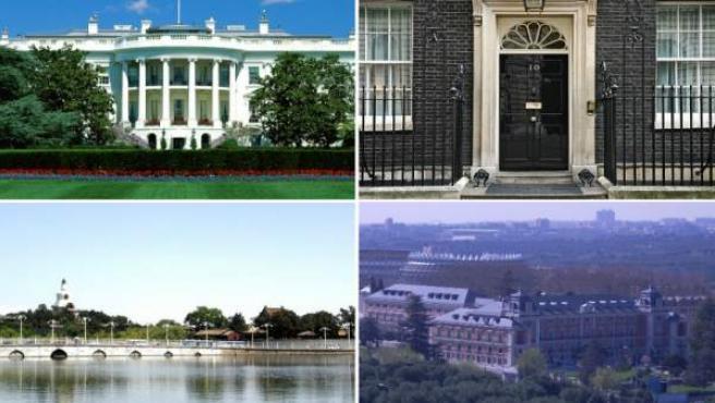 En el sentido de las agujas del reloj, la Casa Blanca, el 10 de Downing Street, el complejo de Zhongnanhai y el Palacio de la Moncloa.