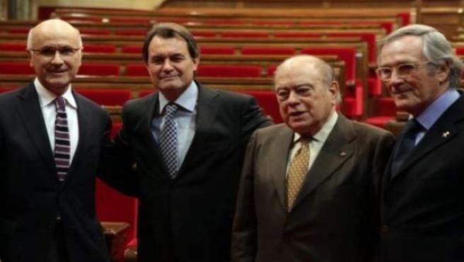 Josep Antoni Duran i Lleida, Artur Mas, Jordi Pujol y Xavier Trias.