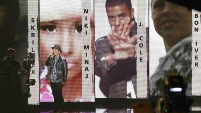 Bruno Mars, en la gala de nominados de los Grammy 2012.