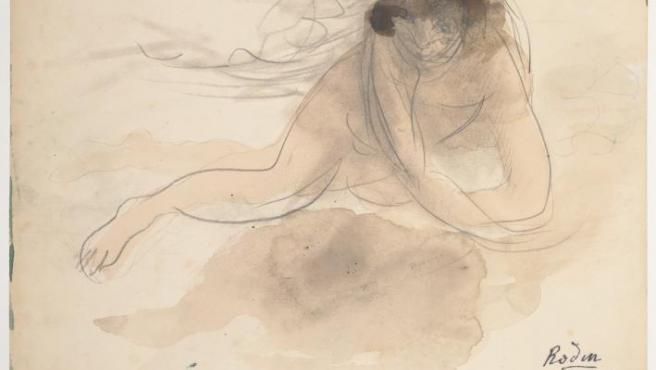 Uno de los dibujos de Rodin que se exponen en París