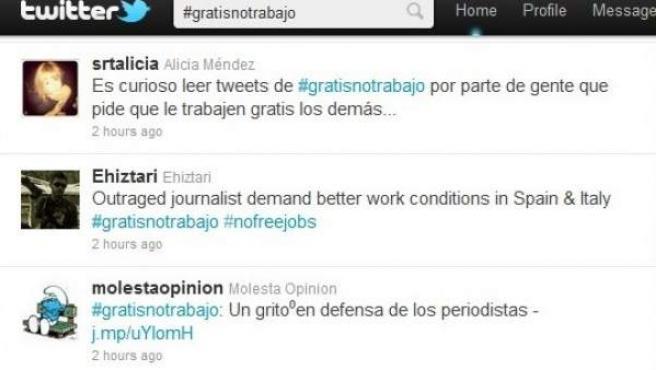 Tuits en Twitter con el 'hashtag' #gratisnotrabajo.