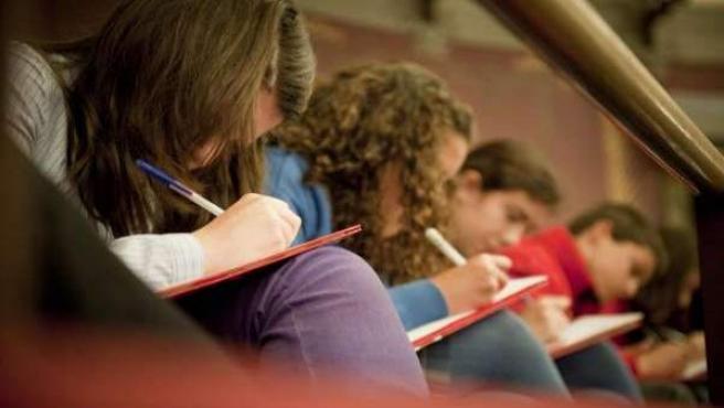 Un grupo de niños dibuja en sus cuadernos.