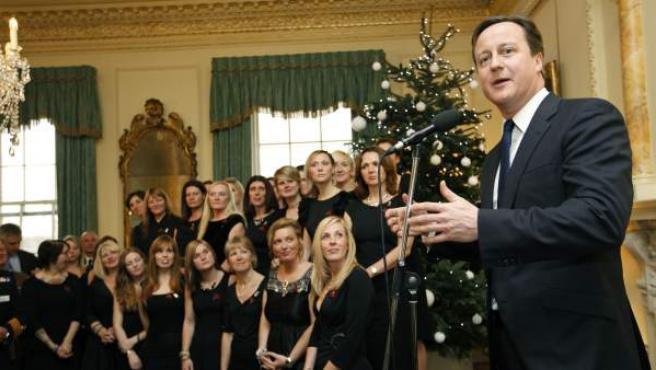 David Cameron, durante una recepción ofrecida a los militares que han regresado de la misión de la OTAN en Libia.