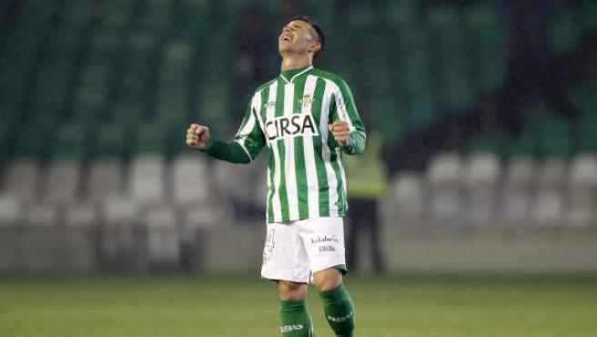 El delantero del Betis Rubén Castro, tras anotar un gol al Valencia este sábado.