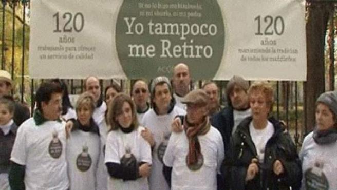Imagen de los quiosqueros del Retiro en el parque madrileño.