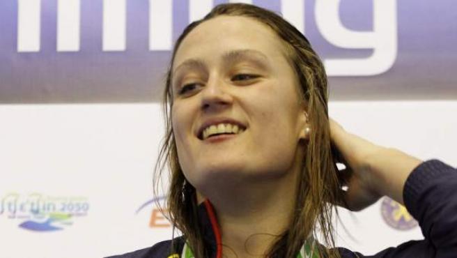 Mireia Belmonte muerde su cuarta medalla de oro en los Europeos de piscina corta.