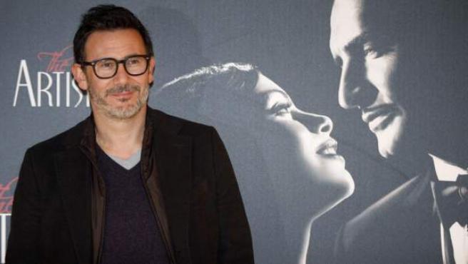 El director de 'The Artist, Michel Hazanavizius, durante el estreno en España de su película en blanco y negro.