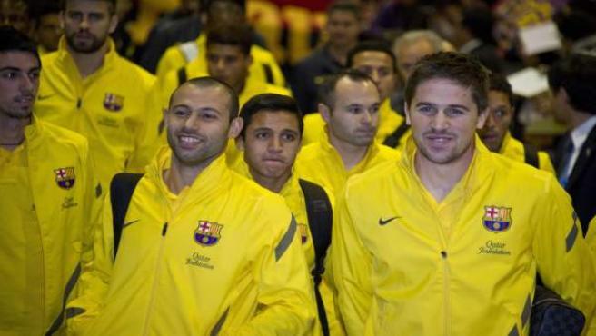 Los jugadores del FC Barcelona Javier Mascherano, Alexis Sánchez, Andrés Iniesta, y Andreu Fontas.