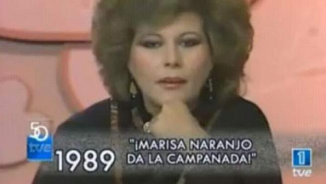Marisa Naranjo, en la Nochevieja de 1989.