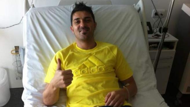 David Villa, en el hospital de Barcelona.