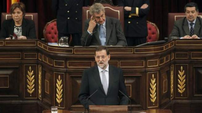 El líder del PP, Mariano Rajoy, durante su discurso en la sesión de su investidura como presidente del Gobierno.