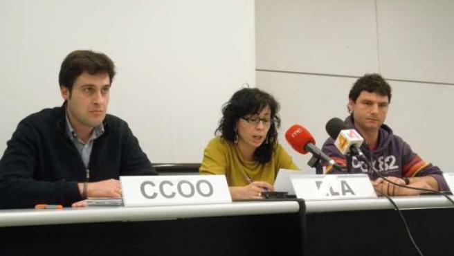 Representantes De CCOO, ELA Y LAB En El Sector Del Comercio.