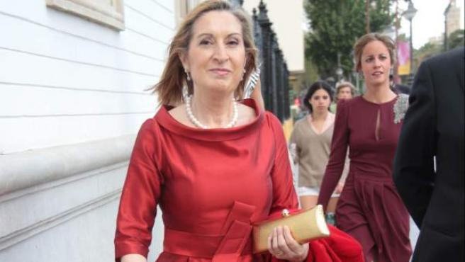 La ministra de Fomento Ana Pastor durante la boda de Ignacio Romero e Isabela Morenés en Sevilla.