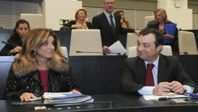 Ana Botella, en el momento de sentarse en el pleno del Ayuntamiento este jueves junto a Manuel Cobo.