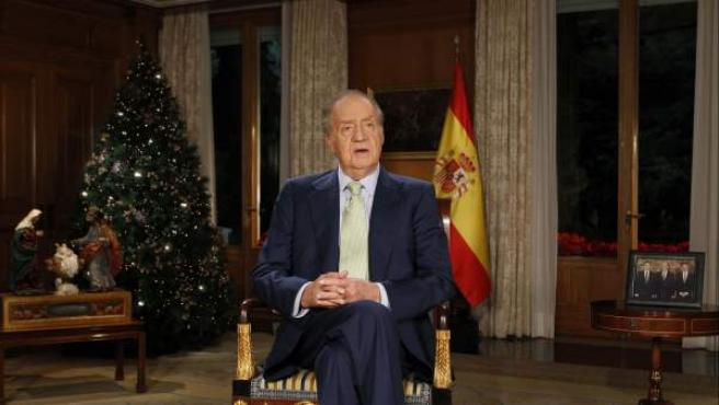 El Rey Juan Carlos, durante su mensaje de Navidad de 2011.