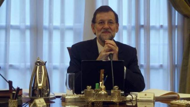 El presidente del Gobierno, Mariano Rajoy, durante su primer Consejo de Ministros.