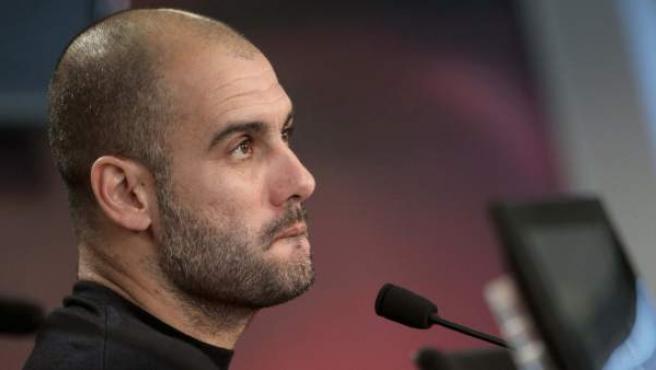 Pep Guardiola, entrenador del Barça, en rueda de prensa.