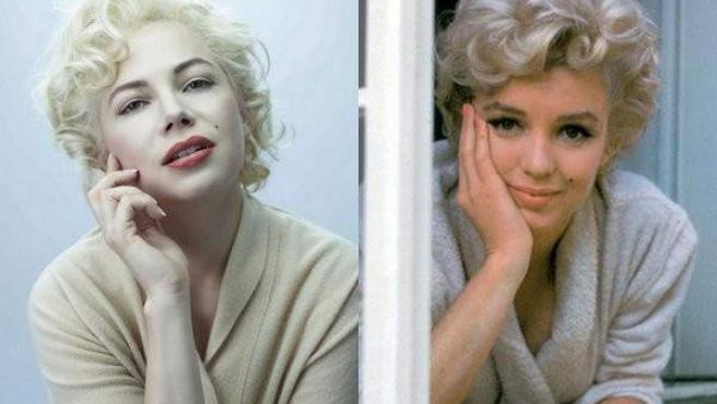 Michelle Williams, a la izquierda, caracterizada como Marilyn Monroe. A la derecha, la verdadera Marilyn.